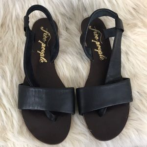 Free People black leather sandal strap